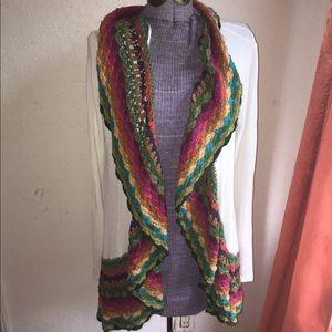 Double zero cardigan rainbow crochet trim sz large